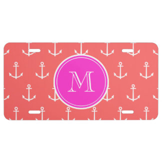 Coral White Anchors Pattern, Hot Pink Monogram License Plate