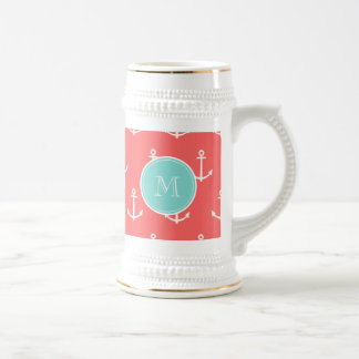 Coral White Anchors Pattern, Mint Green Monogram 18 Oz Beer Stein