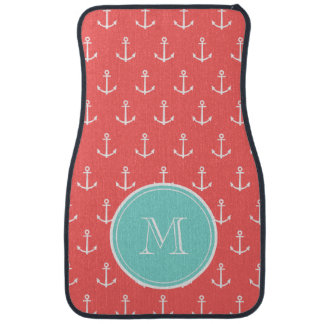 Coral White Anchors Pattern, Mint Green Monogram Car Liners