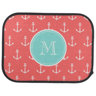 Coral White Anchors Pattern, Mint Green Monogram Floor Mat