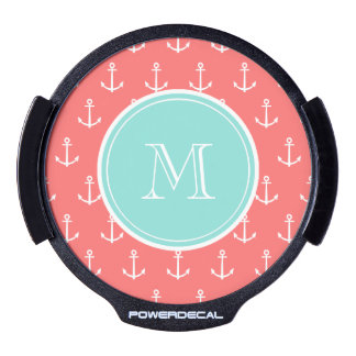 Coral White Anchors Pattern, Mint Green Monogram LED Car Decal