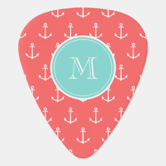 Coral White Anchors Pattern, Mint Green Monogram Guitar Pick