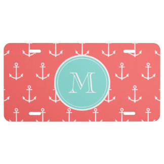 Coral White Anchors Pattern, Mint Green Monogram License Plate