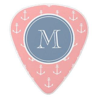 Coral White Anchors Pattern, Navy Blue Monogram White Delrin Guitar Pick