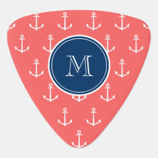 Coral White Anchors Pattern, Navy Blue Monogram Pick