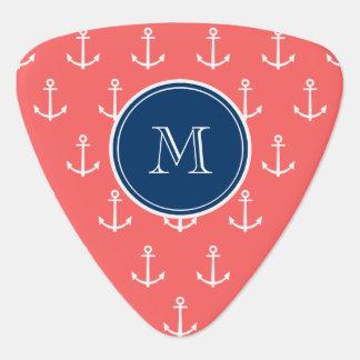 Coral White Anchors Pattern, Navy Blue Monogram Pick