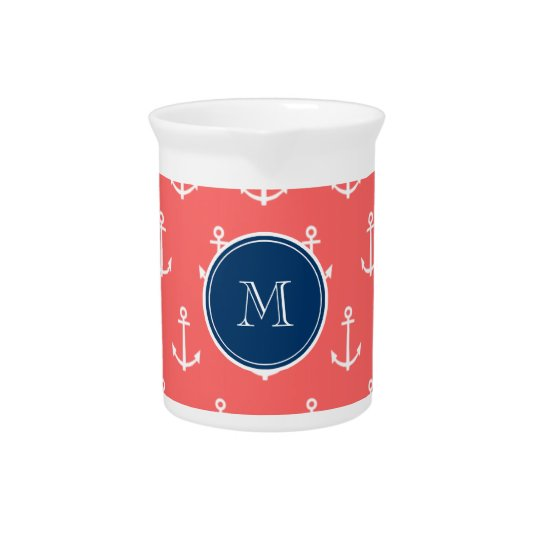 Coral White Anchors Pattern, Navy Blue Monogram Pitcher