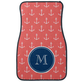 Coral White Anchors Pattern, Navy Blue Monogram Auto Mat