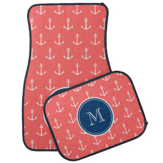 Coral White Anchors Pattern, Navy Blue Monogram Floor Mat