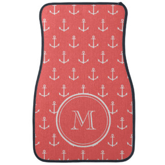 Coral White Anchors Pattern, Your Monogram Car Carpet