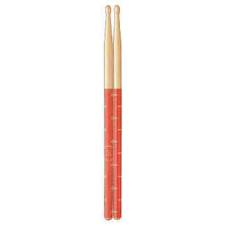 Coral White Anchors Pattern, Your Monogram Drumsticks