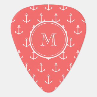 Coral White Anchors Pattern, Your Monogram Pick