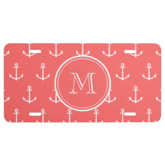 Coral White Anchors Pattern, Your Monogram License Plate