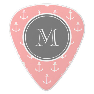 Coral White Anchors Pattern, Your Monogram White Delrin Guitar Pick