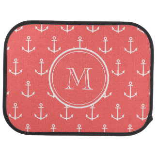 Coral White Anchors Pattern, Your Monogram Floor Mat