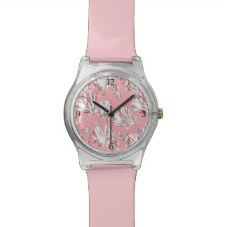 Coral, white and pink sea shells, pink background watches