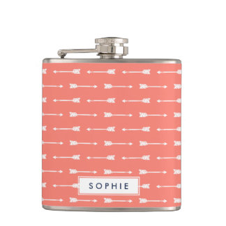 Coral & White Arrows Personalized Flask