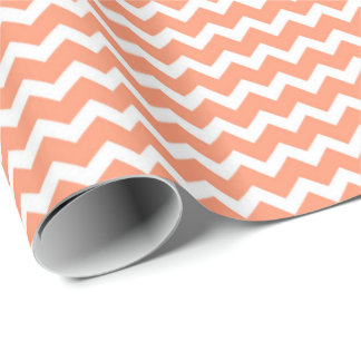 Coral White Chevron Pattern Wrapping Paper