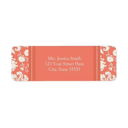 Coral White Damask Custom Return Address Labels