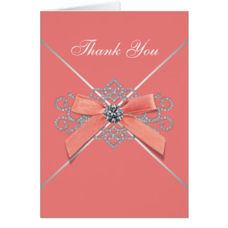 Coral White Diamonds Coral Bow Thank You Cards