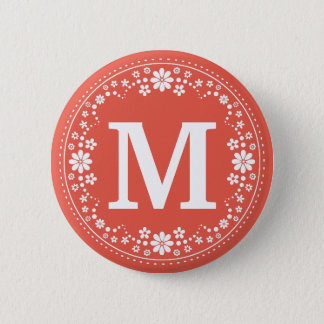 Coral White Floral Wreath Monogram 2 Inch Round Button