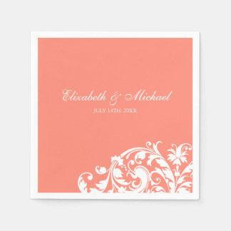 Coral White Flourish Swirl Personalized Wedding Disposable Napkins