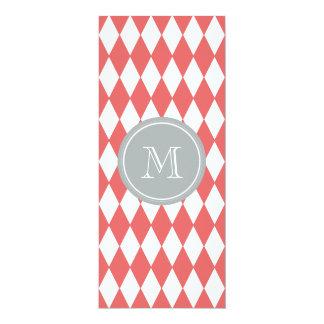 "Coral White Harlequin Pattern, Gray Monogram 4"" X 9.25"" Invitation Card"
