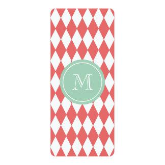 "Coral White Harlequin Pattern, Mint Monogram 4"" X 9.25"" Invitation Card"