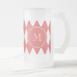 Coral White Harlequin Pattern, Your Monogram Frosted Glass Beer Mug