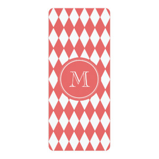 Coral White Harlequin Pattern, Your Monogram 4x9.25 Paper Invitation Card