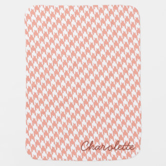 Coral & White Houndstooth Monogram Baby Blanket