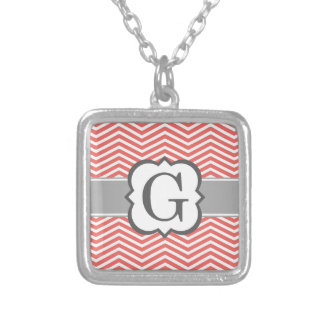 Coral White Monogram Letter G Chevron Silver Plated Necklace