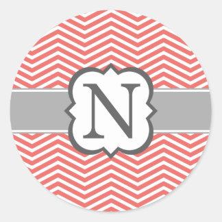 Coral White Monogram Letter N Chevron Classic Round Sticker