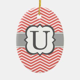 Coral White Monogram Letter U Chevron Ceramic Oval Ornament