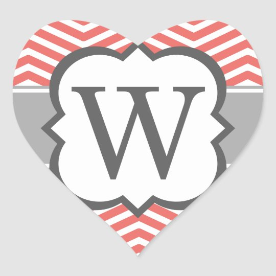 Coral White Monogram Letter W Chevron Heart Sticker