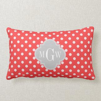 Coral White Polka Dots Gray Quatrefoil 3 Monogram Lumbar Pillow