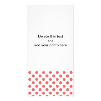 Coral White Polka Dots Pattern Photo Card