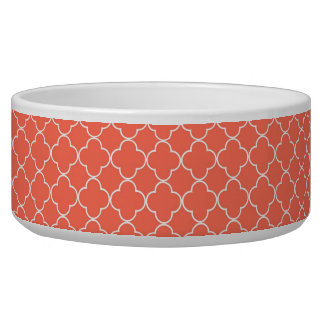 Coral White Quatrefoil Custom Dog Bowl