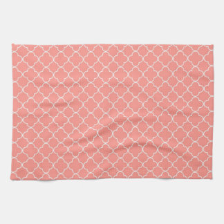 Coral White Quatrefoil Kitchen Cloth Towel