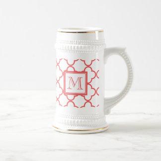 Coral White Quatrefoil | Your Monogram Beer Steins