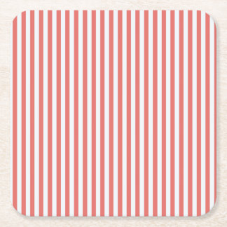 Coral & White Sailor Stripes Coaster