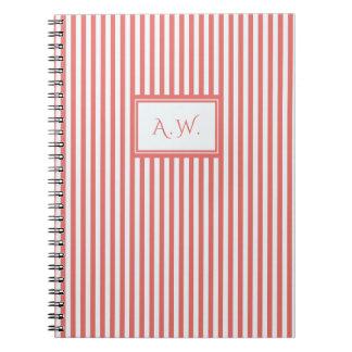 Coral & White Sailor Stripes Monogram Notebook
