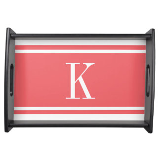 Coral White Stripe Pattern & Custom Monogram Serving Tray
