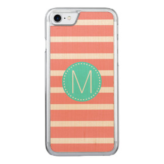 Coral & White Stripe with Turquoise Monogram Carved iPhone 7 Case