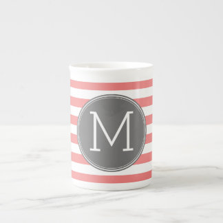 Coral & White Striped Pattern Custom Gray Monogram Tea Cup
