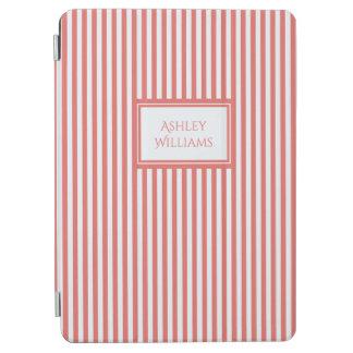 Coral & White Stripes Custom Name iPad Cover
