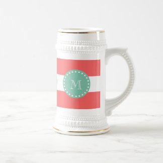 Coral White Stripes Pattern, Mint Green Monogram 18 Oz Beer Stein
