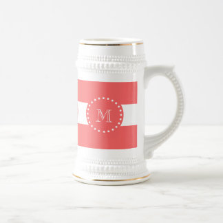 Coral White Stripes Pattern, Your Monogram Beer Stein