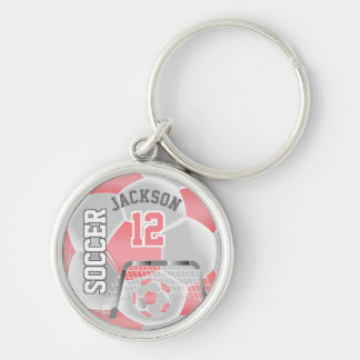 Coral & White Team Soccer Ball Keychain
