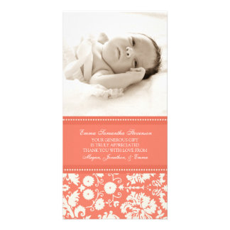 Coral White Thank You Baby Shower Photo Cards